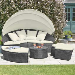 Rattan Day Bed with Table Grey