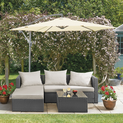 Havana Rattan Grey With Pale Grey Cushion