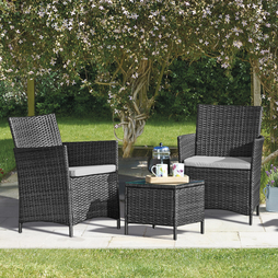 Seville Rattan Garden Bistro Set Grey with Cover