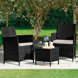 Seville Rattan Garden Bistro Set Black with Spare Cushion Covers