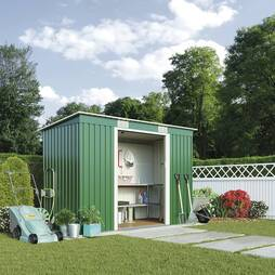 Waltons Pent Metal Shed 9X4.2ft Light Green