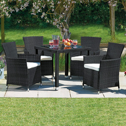 5 Piece Santorini Rattan Set- Black/Cream