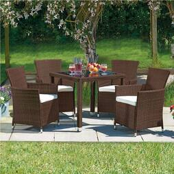 5 Piece Santorini Rattan Set- Brown/Cream