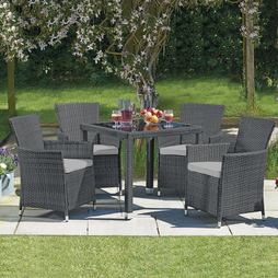 5 Piece Santorini Rattan Set- Grey/Grey