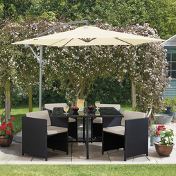5 Piece Sorrento Rattan Set- Black/Cream