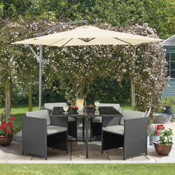 5 Piece Sorrento Rattan Set- Grey/Grey