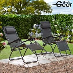 Garden Gear Zero Gravity Chair Black 2 Pack