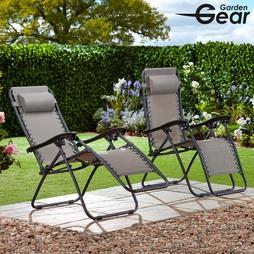 Garden Gear Zero Gravity Chair Grey 2 Pack