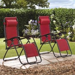 Garden Gear Zero Gravity Chair Red 2 Pack