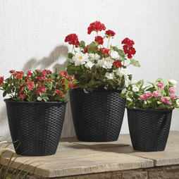 Rattan Effect Planter 3 Pack Black