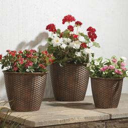 Rattan Effect Planter 3 Pack - Brown
