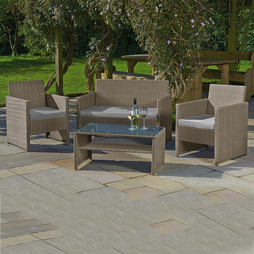 St Barts Rattan Set Snow Grey