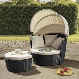 VALENCIA RATTAN DAY BED BlackCREAM