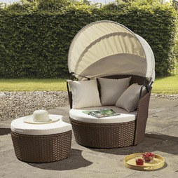Valencia Rattan Day Bed - Brown with cream cushions
