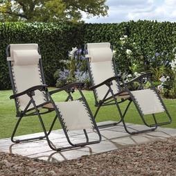 Garden Gear Zero Gravity Chair Cream 2 Pack