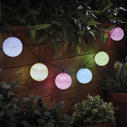 10 LED Solar Multicoloured Ball String Lights