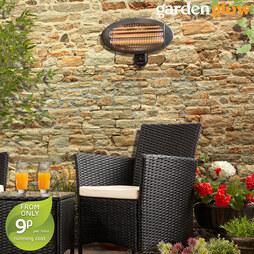 Garden Glow 2000W Wall Mounted Patio Heater Graphite