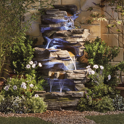 CASCADING BARREL WATER FEATURE WITH PLANT