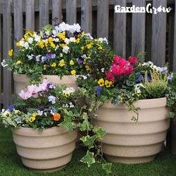 Garden Grow Set of Three Pebble Planter Cream