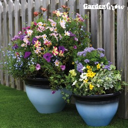 Garden Grow Set of Two Glazed Effect Planters Blue