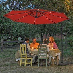 Solar Led Parasol Red