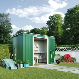 Dark Green Waltons Pent 8.6 x 6ft Metal Shed