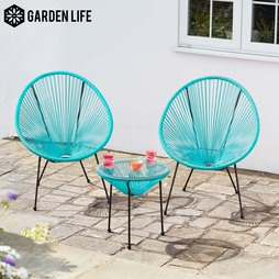 Garden Life Leon String Bistro Set Black with cover