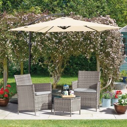 Seville Rattan Garden Bistro Set Snow Grey with Covers