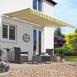 Easy Fit Garden Awning 400 x 300cm Yellow/Grey Stripe