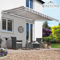 Waltons Easy Fit Half Cassette Awning Neutral Stripe 250 x 200