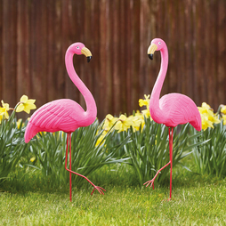 Twin pack of freestanding flamingos