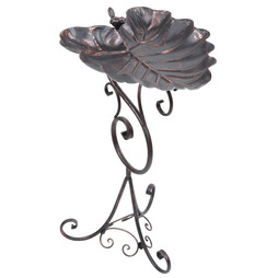 Bronze Ornate Leaf Pedestal Bird Bath