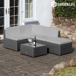 Garden Life Milan Rattan Lounge Sofa Set Cusion Covers Cream