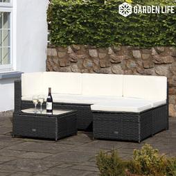 Garden Life Milan Rattan Lounge Sofa Set Black