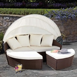 Garden Life Rattan Daybed 210cm Brown