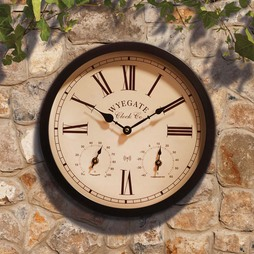 Radio Controlled ThreeinOne Garden Wall Clock Copper