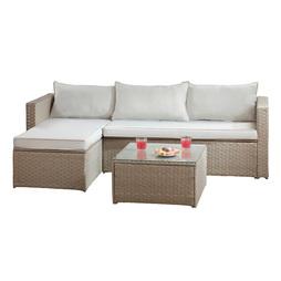 Havana Rattan Corner Sofa Set Grey with Cream Cushions