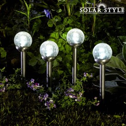 Solar Style Steel Solar Lights with Crackle Glass