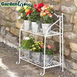 Twotier Wire Shelf Folding Metal Plant Stand Green