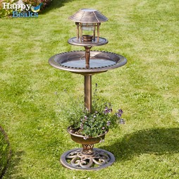 Happy Beaks Bird Hotel with Solar Light Verdigris