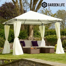 Garden Life 3x3m Metal Gazebo with Cream Roof and Curtains
