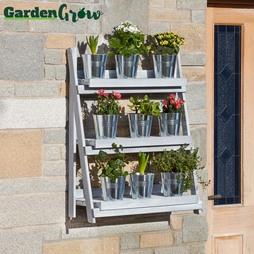 Garden Grow ThreeTier Folding Plant Stand Light grey Large