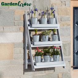 Garden Grow ThreeTier Folding Plant Stand Light Grey Medium