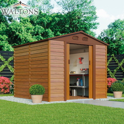 Waltons Premium Woodeffect Apex 8ft x 8ft Metal Shed with Foundation Kit
