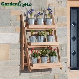 Garden Grow ThreeTier Folding Plant Stand Natural Medium