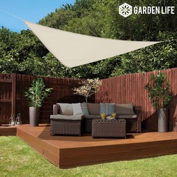 Garden Life 3Metre Triangle Waterproof Sun Shade Sail Cream