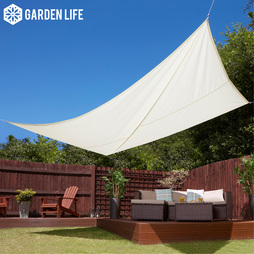 Garden Life 3x4m Waterproof Sun Shade Sail Square Fixing Kit