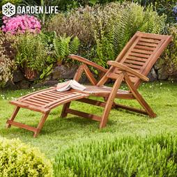 Garden Life Acacia Folding Steamer Deck Chair