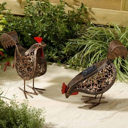 Pair of Decorative Solar Metal Hens