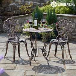 Garden Life Provence Rose Metal Bistro Set